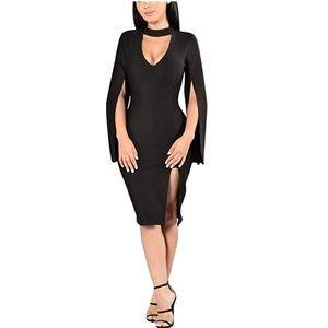 Dresses & Skirts - V-Neck Cocktail Stylish Fashion Midi Dress Black
